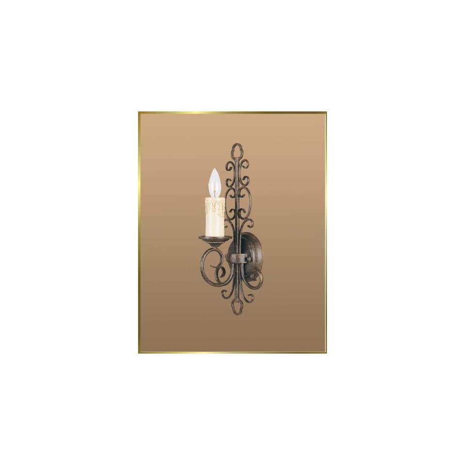 Wrought Iron Wall Sconce, JB 7200, 1 light, French Bronze, 8 wide X 17 high
