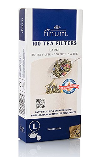 Finum Disposable Paper Tea Filter Bags for Loose Tea, Brown, Large, 100 Count