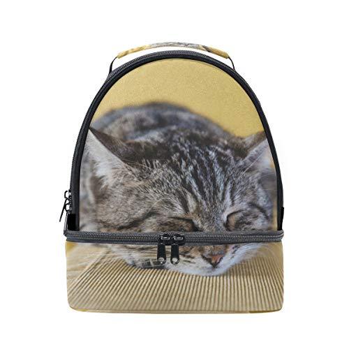 Alinlo mignon Chat endormi Boîte à lunch Sac isotherme Sac avec bandoulière réglable pour Pincnic à l'école