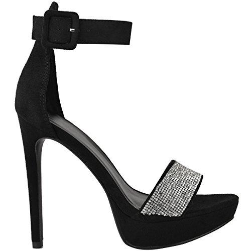 DA Pelle Scamosciata SPILLO TACCHI Fashion strass luccicante donna sandali FESTA plateau A Nera Thirsty taglia ALTI Rwz1fzqB