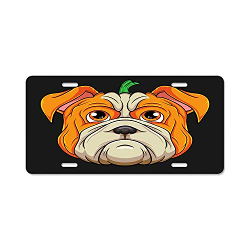 YEX Abstract License Plate English Bulldog Pumpkin Head Halloween Costume High Gloss Aluminum Novelty Car Licence Plate Covers Auto Tag Holder 12