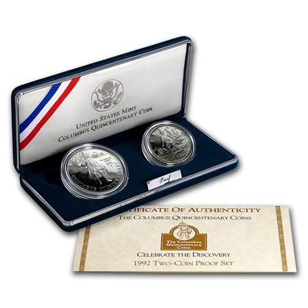 Proof Columbus - 1992 S Columbus Quincentenary Two Coin Commemorative Proof Set Uncirculated