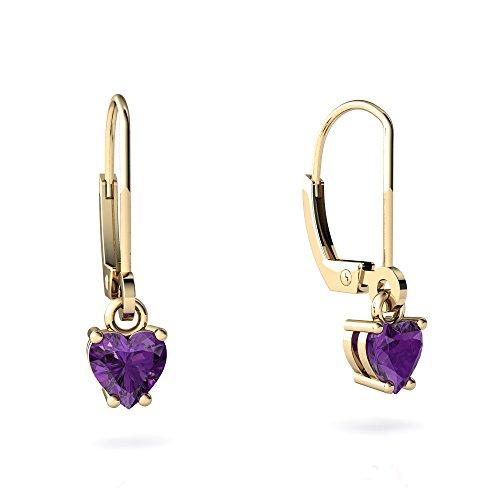 Heart 5mm Earring Amethyst (14kt Yellow Gold Amethyst 5mm Heart Lever Back Earrings)