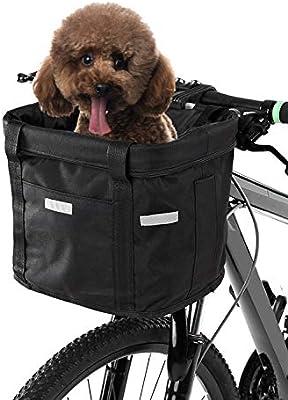 Lixada Cesta Delantera de Bicicleta Lona Desmontable Impermeable Cesta de Manillar de Bicicleta Bolsa para Mascota: Amazon.es: Deportes y aire libre