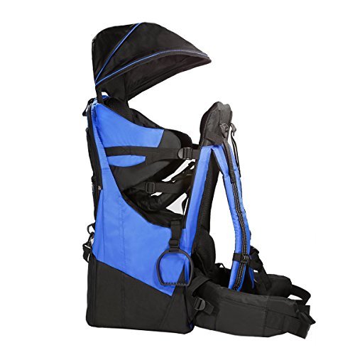 ClevrPlus Deluxe Baby Backpack Hiking Toddler Child Carrier Lightweight with Stand & Sun Shade Visor, Blue | 1 Year Limited Warranty