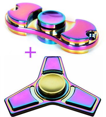 LXX-MD 2 Pack Tri Fidget Hand Spinner Rainbow Finger Gyro Toy Focus ADHD Autism USPS (Baby Jack Jack From The Incredibles)