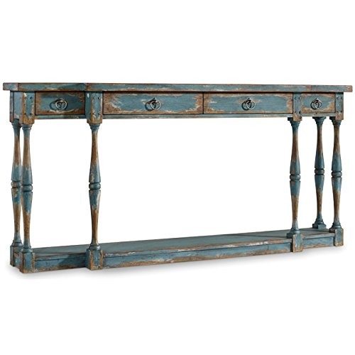 Hooker Furniture Sanctuary 4 Drawer Thin Console Table in Azure Blue - Hooker Furniture Console