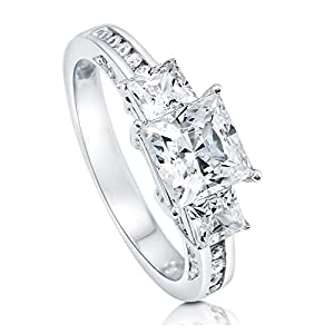 BERRICLE Rhodium Plated Sterling Silver Cubic Zirconia CZ 3-Stone Promise Engagement Ring Size 8