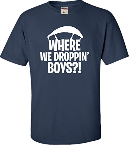 Go All Out Screenprinting YM 10-12 Navy Youth Where We Droppin' Boys T-Shirt