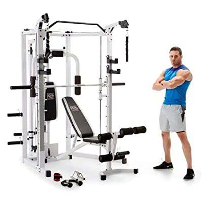 Kinelo Marcy 5276 Combo Smith Heavy-Duty Total Body Strength Home Gym Machine, White