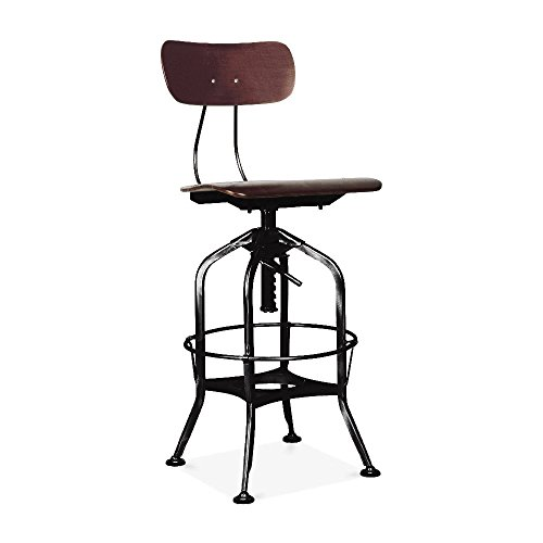 Design Lab MN LS-9199-WALBLK Toledo Adjustable High Back Bar Chair Industrial, Walnut Black price