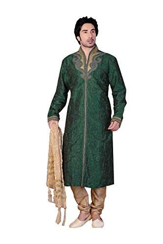 (Indian Fashion Eye-catching Art BANARASI GICCHA MULTI SILK Fabric GREEN Color Ready)