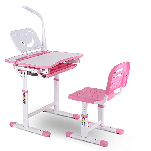 POTBY Kids Desk and Chair Set, Height Adjustable Children Study Table with Wood Tiltable Anti-Reflective Tabletop, Bookstand, Pull-Out Drawer Storage and Touch Led for School Students (Pink)