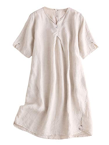 (Mordenmiss Women's Linen Tunic Dresses V-Neck Baggy Midi Dress Hi-Low Tops (Nature,L))