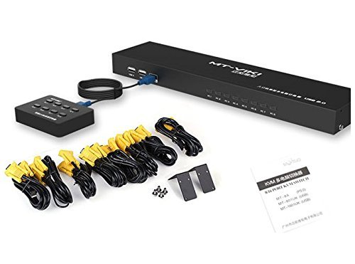 8 Port USB Kvm Switch with 8 Cable Sets - Key Press Switch