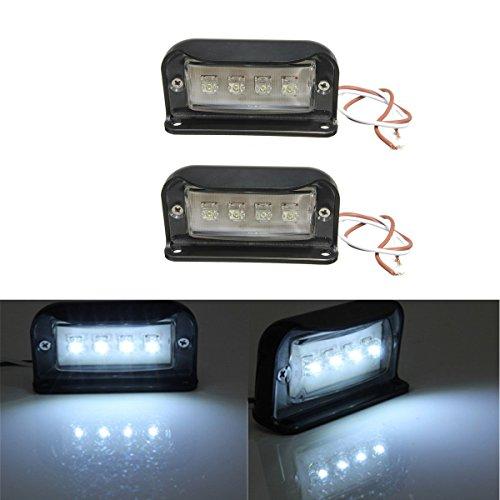 AUDEW 2x4 LED Kennzeichenbeleuchtung Nummernschildbeleuchtung Motorrad Kennzeichen Licht LKW Anhänger Wasserdicht