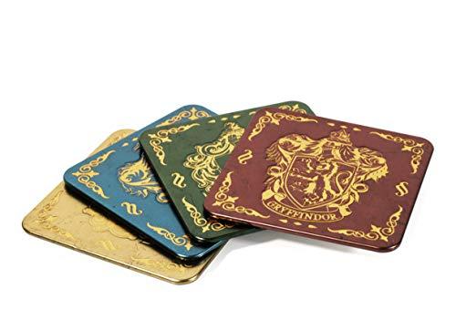 Paladone Harry Potter Coasters for Drinks - Hogwarts Crest Design - Premium Metal Drink Coaster