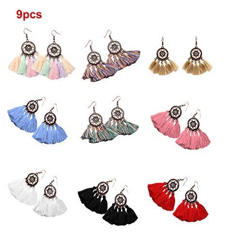 9pairs Tassel Pendant Fan Earring Seaside Beach Style Tessel Drop Earrings Bohemian Earrings for Women Handmade Braid Hollow Braid Dangle Flower Earrings LUORATA (Fan Earrings, Bronze Hoop Earring)