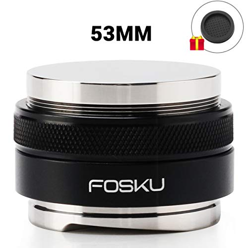 53mm Coffee Distributor and Tamper, FOSKU Dual Head Stainless Steel Coffee Leveler Fits for 54mm Breville Portafilter, Adjustable Depth Espresso Hand Tamper with Silicone Mat