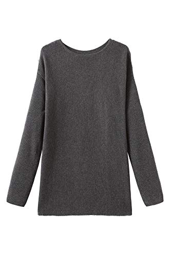 Fancy Stitch Women's Crewneck Loose Knitted Cashmere Sweater Grey Melange