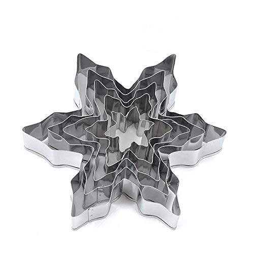 - XYBAGS Snowflake Cookie Cutter Set - Stainless Steel Snowflake Shaped Cookie Candy Food Molds - 5 Piece