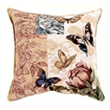 Butterfly Floral Tapestry Toss Pillow USA Made SKU PTP903