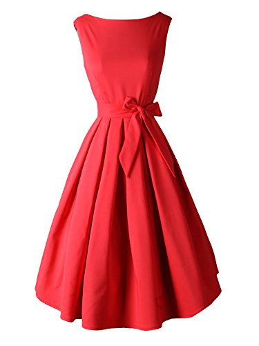 LUOUSE-Womens-Vintage-1950s-Solid-Color-Swing-Party-Cocktail-Dress