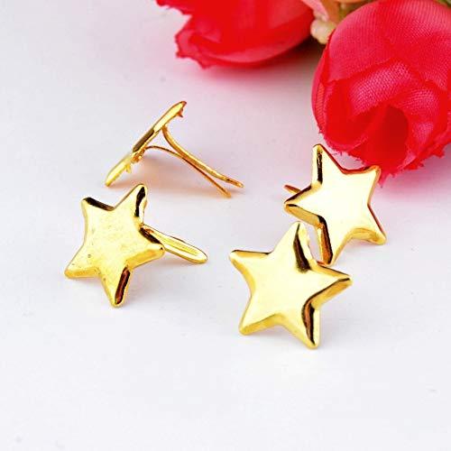 Garment Rivet - -50PCs Golden Pastel Star Brads Scrapbooking Embellishment Holiday Decoration & Gift 14x14mm F0730