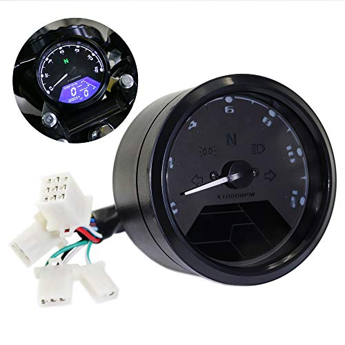 $31.99 12000 rpm MPH Blue LED Backlight Digital Signal LCD Odometer Speedometer Tachometer 199 kmh for Motorcycle Custom Cruiser Café Racer