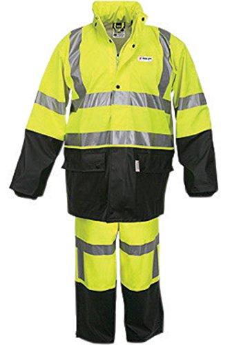 - River City Rainwear 5182SXL MCR Safety Fluorescent Lime|Black Luminator .40 mm Polyester/Polyurethane 2-Piece Rain Suit, Attached Hood/Elastic Waist Pants