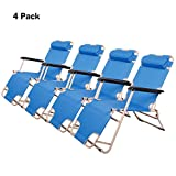 Lucky Tree 4 Pack Flat Floding Patio Lounge Chair Outdoor Camping Reclining Chairs for Beach Lawn, 60'(L) x19(W)