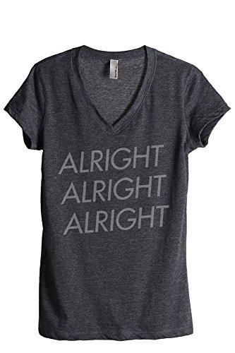Thread Tank Alright Alright Alright Women's Relaxed V-Neck T-Shirt Tee Charcoal Medium