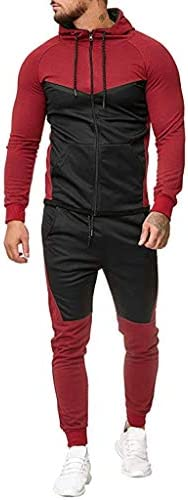 Zolulu Mens Hooded Athletic Tracksuit Hip hop Casual Sports Full Zip Warm JoggingSweatsuits