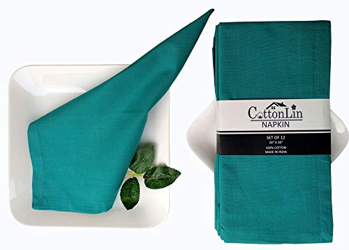 Cloth Napkin in Cotton Solid Plain Hemmed - Oversized 20x20 inches, Mitered Corners, Wedding Napkins,Cocktails Napkins. Machine Washable Dinner Napkins Pack of 12-20x20 Teal