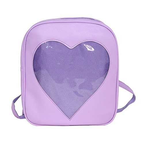 YingTech Teens Girls Summer Candy PU Leather Backpack Bag Plastic Heart Love Beach School Bag (Purple) Purple Plastic Purse