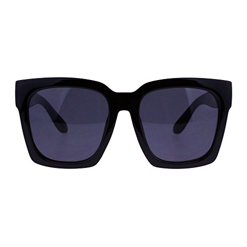 SUPER Oversized Square Sunglasses Womens Modern Hipster Fashion Shades (shiny black (black), ()