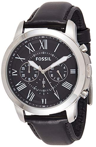 Fossil Men's Grant Stainless Steel Analog-Quartz Leather Calfskin Strap, Black, 22 Casual Watch (Model: FS4812IE) (Fossil Watches Black Leather)