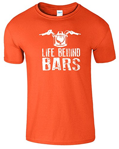 "SNS Online Orange / Weiß Design - XL - Brustumfang : 46"" - 48"" - Life Behind Bars Frauen Der Männer Damen Unisex T Shirt"