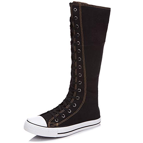 Bilun Women Fashion Canvas Dance Boots Knee High Bicycling Boots Girls Fancy School Shoes Black 905 US4.5