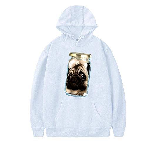 NNaseg Mens Hoodies   Funny Pugs in Cans Print Soft and Velvet Sweatshirt with Pocket XXL White -