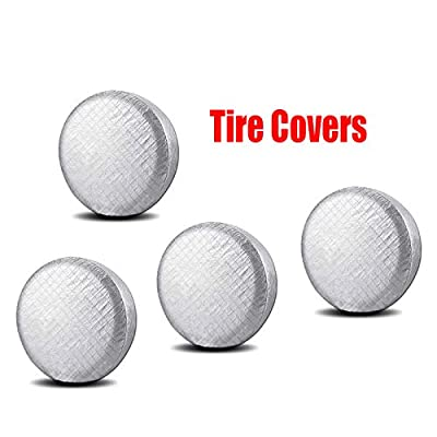 "Set of 4 Tire Covers Waterproof Aluminum Film Cotton Lining Tire Protectors for Trailer, SUV, Van, Auto, Camper, Universal Fits 26"" To 29"" Tire Diameters: Automotive"