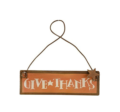 PBK Fall Decor - Small Tin Ornament Sign Give Thanks #23012 -