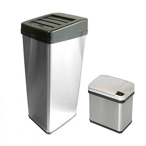 iTouchless (Set of 2) Automatic Sliding Lid Trash Can 14 Gallon and Deodorizer Sensor Waste Bin 2.5 Gallon, Perfect For Kitchen, Bathroom and Office (Stainless Steel) (Liners Bin Vipp)