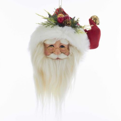 "Kurt Adler 10"" SANTA HEAD W/RED HAT ORN"