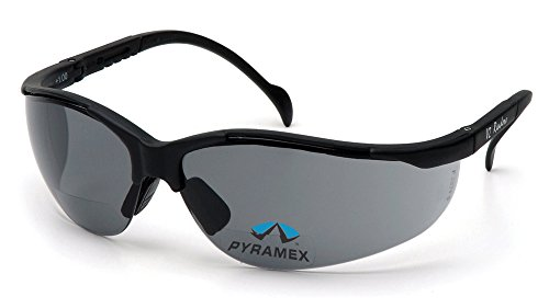Pyramex V2 Readers Safety Eyewear, Gray +2.0 Lens With Black Frame - Frames Tinted Lenses