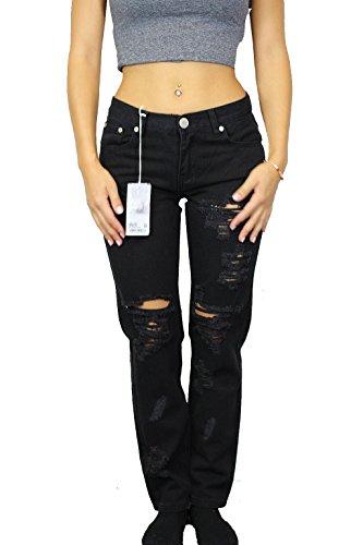 GLAMOROUS Damen Jeans Gr 36 Schwarz Black Denim Used-Look Hose Pants #O157