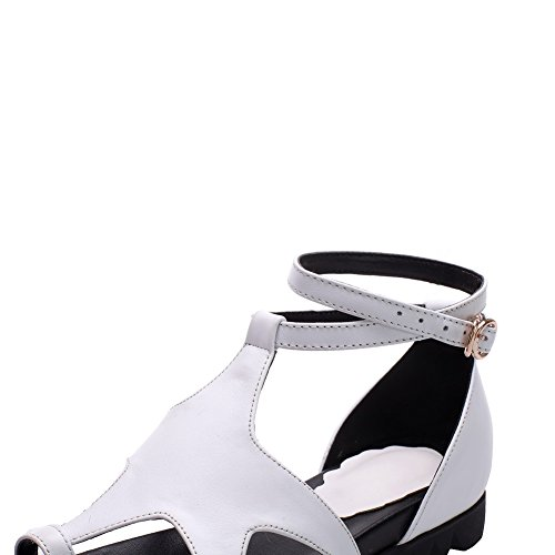 AmoonyFashion Womens Open Toe Buckle Cow Leather Solid Low Heels Sandals White UKNyGes3wD