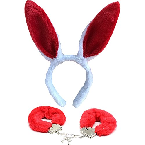 Women Girls Rabbit Bunny Ears Headband Soft Handcuffs Bracelet Set For Cosplay Halloween -