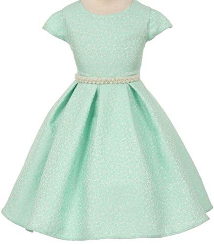 Big Girls' Short Sleeve Jacquard Pearl Waistline Flowers Girls Dresses Mint 8