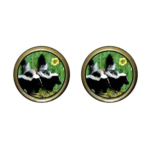 GiftJewelryShop Bronze Retro Style Wildlife Skunk Photo Stud Earrings 12mm Diameter ()